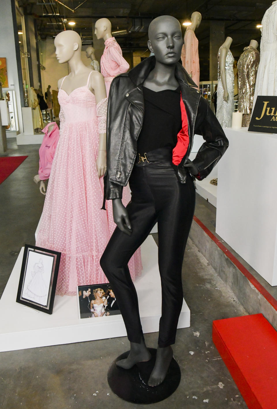 """BEVERLY HILLS, CALIFORNIA - OCTOBER 29: Olivia Newton-John 'Grease' costuming on display at  the VIP reception for upcoming """"Property of Olivia Newton-John Auction Event at Julien's Auctions on October 29, 2019 in Beverly Hills, California. (Photo by Rodin Eckenroth/Getty Images)"""