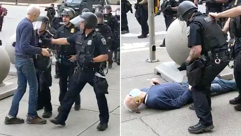 Martin Gugino was pushed to the ground by police officers in Buffalo. Source: WBFO