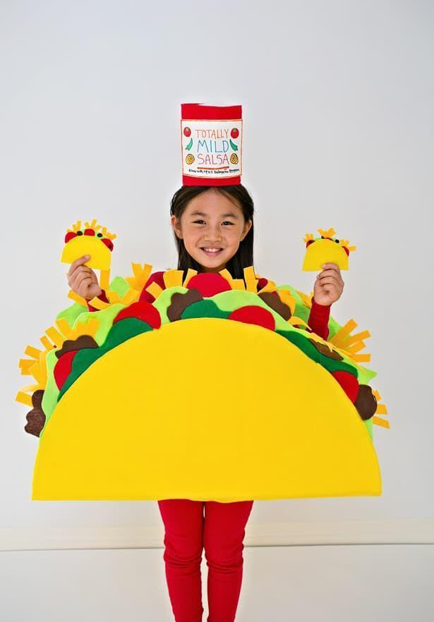 """<p>We can't even taco 'bout how huge of a hit this no-sew look will be with the <a href=""""https://www.countryliving.com/life/kids-pets/a23932768/what-time-does-trick-or-treating-start/"""" rel=""""nofollow noopener"""" target=""""_blank"""" data-ylk=""""slk:trick-or-treating"""" class=""""link rapid-noclick-resp"""">trick-or-treating</a> crowd. </p><p><strong>Get the tutorial at <a href=""""https://www.hellowonderful.co/post/diy-no-sew-felt-taco-costume-for-kids/"""" rel=""""nofollow noopener"""" target=""""_blank"""" data-ylk=""""slk:Hello, Wonderful"""" class=""""link rapid-noclick-resp"""">Hello, Wonderful</a>. </strong></p><p><strong><a class=""""link rapid-noclick-resp"""" href=""""https://www.amazon.com/Darice-1095-55-Strip-15-Feet-White/dp/B00513368O?tag=syn-yahoo-20&ascsubtag=%5Bartid%7C10050.g.21600836%5Bsrc%7Cyahoo-us"""" rel=""""nofollow noopener"""" target=""""_blank"""" data-ylk=""""slk:SHOP VELCRO STRIPS"""">SHOP VELCRO STRIPS</a><br></strong></p>"""