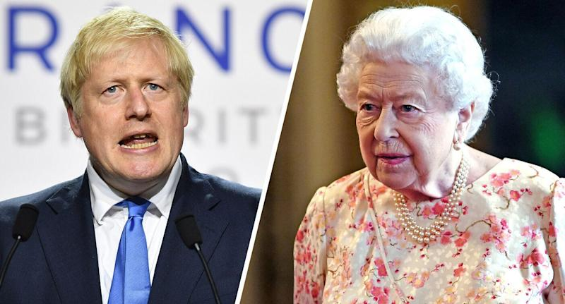 UK Prime Minister Boris Johnson and Britain's Queen Elizabeth II. (Photos: Jeff J Mitchell/Getty Images, Victoria Jones/AFP/Getty Images) (Photo: Yahoo News)