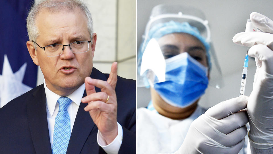 Scott Morrison, pictured here announcing the planned rollout for the Pfizer vaccine in Australia.