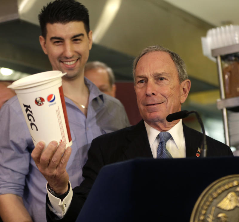 Mayor Michael Bloomberg holding a large soda