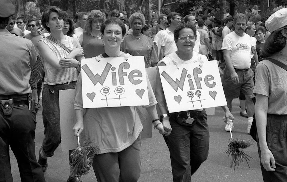 <p>Way before the supreme court legalized same-sex marriage in 2015, this '89 couple sported matching signs showcasing their marital status at the Pride Parade in New York City.<br></p>