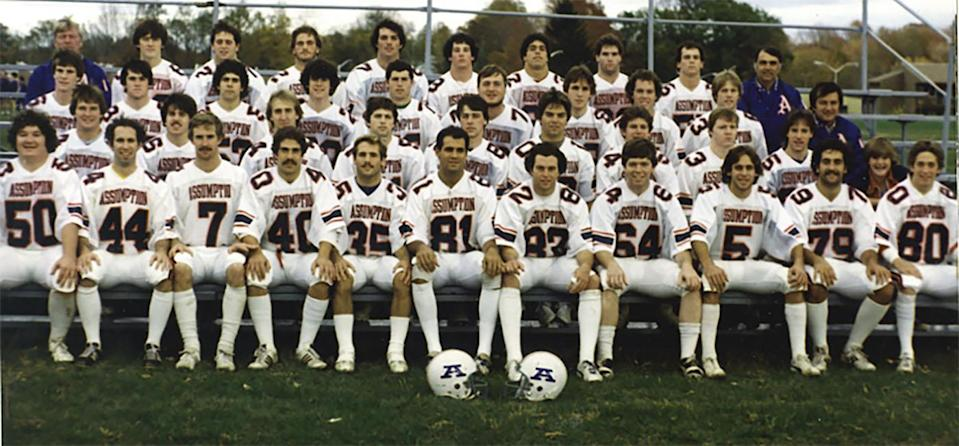 Brian Kelly (third row, far right next to the coach) during his playing days at Assumption College in 1981. The 1981 team went 8-3. (Photo courtesy of Assumption College)