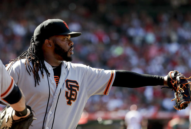 San Francisco Giants starting pitcher Johnny Cueto celebrates after the sixth inning of a baseball game against the Los Angeles Angels in Anaheim, Calif., Sunday, April 22, 2018. (AP Photo/Chris Carlson)