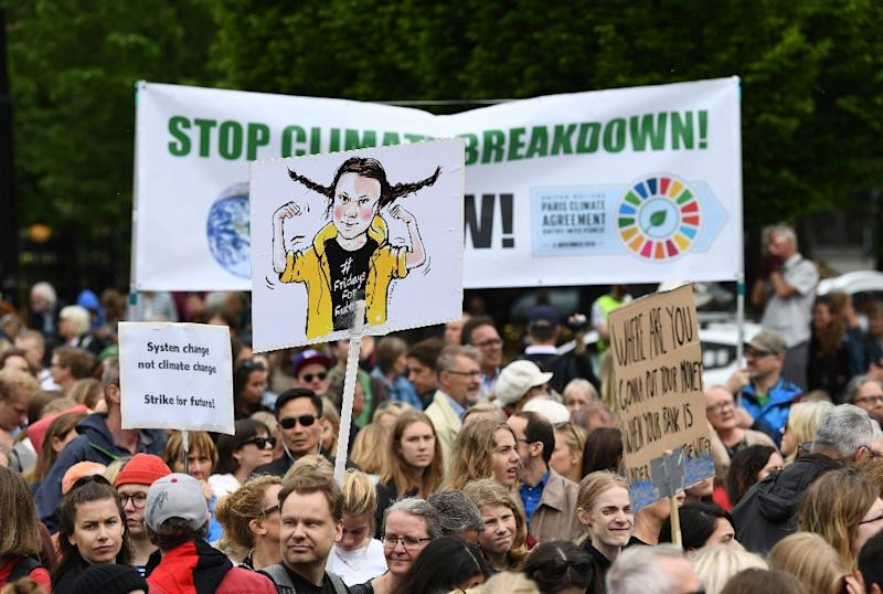 "16-year-old Swedish climate activist Greta Thunberg initiated the ""Fridays for Future"" protests (AFP Photo/Jonathan NACKSTRAND)"