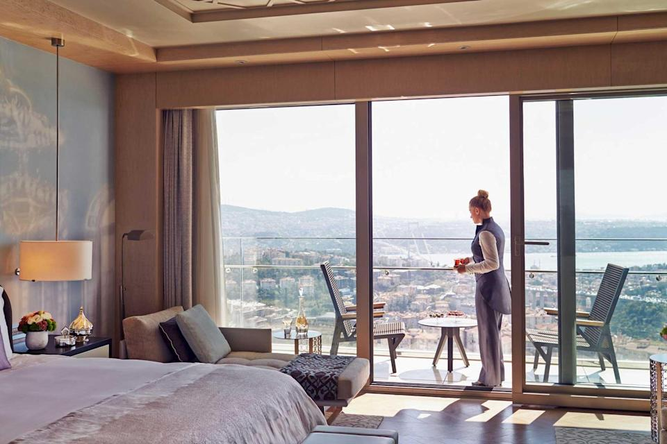 A guest room with city views at the Raffles Hotel Istanbul, voted one of the best hotels in the world