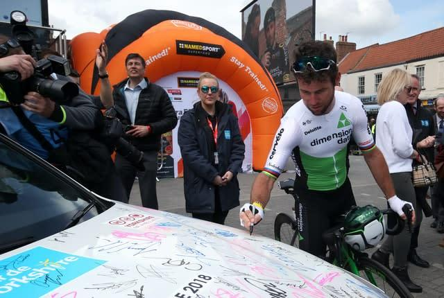 Sprint star Mark Cavendish was among the stage hopefuls signing on in Beverley (Danny Lawson/PA)