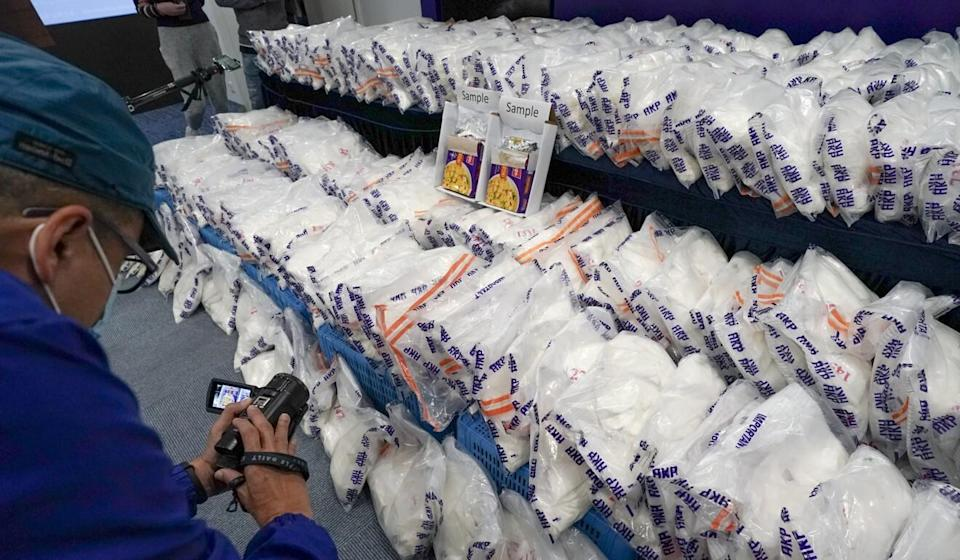 Boxes labelled 'macaroni' contained 674.8kg of ketamine. Photo: Felix Wong