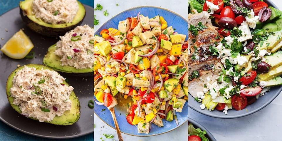 """<p>Chicken salads make the best work-from-home lunches and can be whipped up in no time at all. We're especially fond of chicken salads that are loaded with fruit and veg. You know, <a href=""""https://www.delish.com/uk/cooking/recipes/a33641941/avocado-chicken-salad-recipe/"""" rel=""""nofollow noopener"""" target=""""_blank"""" data-ylk=""""slk:Avocado Chicken Salad"""" class=""""link rapid-noclick-resp"""">Avocado Chicken Salad</a> or <a href=""""https://www.delish.com/uk/cooking/recipes/a28840660/chicken-salad-with-apples-and-radishes-recipe/"""" rel=""""nofollow noopener"""" target=""""_blank"""" data-ylk=""""slk:Chicken Salad with Apples & Radishes"""" class=""""link rapid-noclick-resp"""">Chicken Salad with Apples & Radishes</a>. Not to mention, <a href=""""https://www.delish.com/uk/cooking/recipes/a30438961/chicken-pasta-salad/"""" rel=""""nofollow noopener"""" target=""""_blank"""" data-ylk=""""slk:Chicken Pasta Salads"""" class=""""link rapid-noclick-resp"""">Chicken Pasta Salads</a> (yum!) Take a look at our favourite chicken salads now. </p>"""