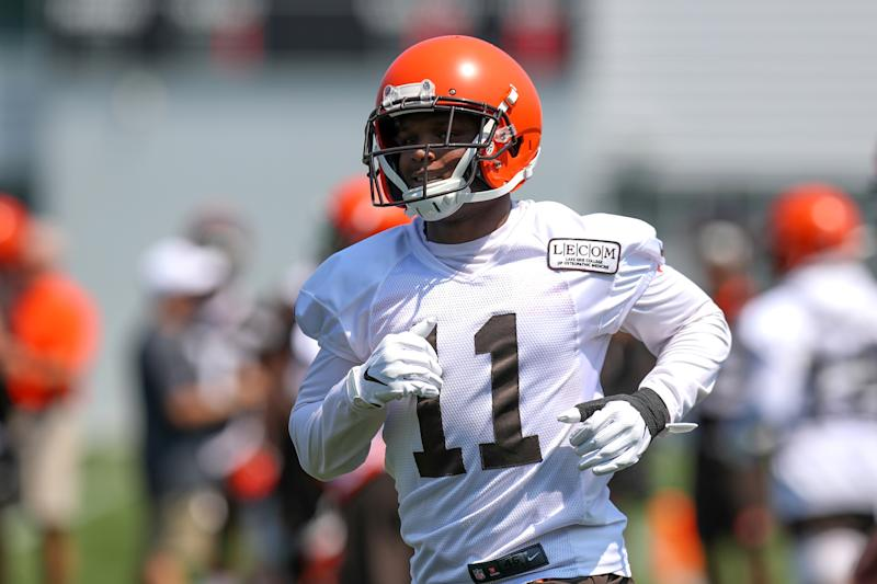 BEREA, OH - JULY 25: Cleveland Browns wide receiver Antonio Callaway (11) participates in drills during the Cleveland Browns Training Camp on July 25, 2019, at the at the Cleveland Browns Training Facility in Berea, Ohio. (Photo by Frank Jansky/Icon Sportswire via Getty Images)