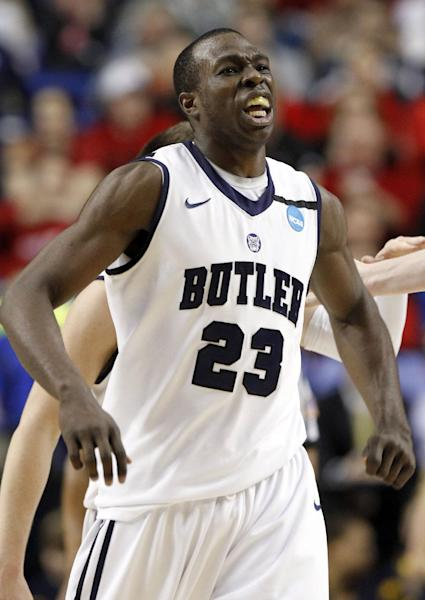 Butler forward Khyle Marshall (23) reacts during the second half of their second-round game in the NCAA college basketball tournament against Bucknell, Thursday, March 21, 2013, in Lexington, Ky. Butler won 68-56. (AP Photo/James Crisp)