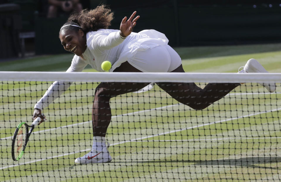 FILE - Serena Williams returns the ball to Germany's Angelique Kerber during their women's singles final match at the Wimbledon Tennis Championships, in London, in this Saturday July 14, 2018, file photo. The draw to set up the singles brackets for this year's Wimbledon will be held Friday, June 25, 2021. Play begins Monday.(AP Photo/Ben Curtis, File)