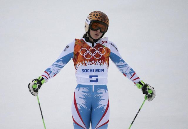 Austria's Anna Fenninger catches her breath after completing the first run in the women's giant slalom at the Sochi 2014 Winter Olympics, Tuesday, Feb. 18, 2014, in Krasnaya Polyana, Russia.(AP Photo/Gero Breloer)