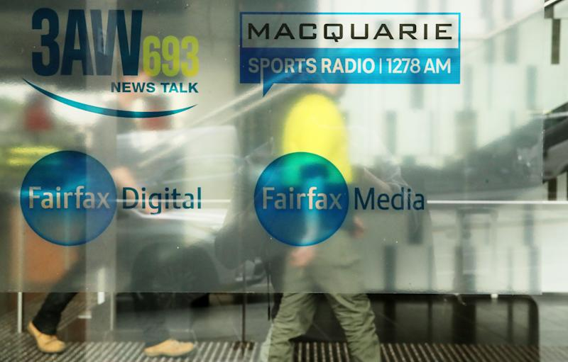 MELBOURNE, AUSTRALIA - JULY 26: The Fairfax Media logo is seen on the outside of their offices on July 26, 2018 in Melbourne, Australia. Nine and Fairfax have announced plans to merge, which will create an integrated media giant across television, online video streaming, print, digital and real estate advertising. The merger is planned to take place by the end of 2018, with Nine to be the dominant partner retaining 51.1 per cent of the new merged company's shares. The merged company will be called Nine, and will retain Nine's current chief executive Hugh Marks and chairman Peter Costello at the helm. The new Nine company will include Nine's free-to-air television network, Fairfax mastheads including The Sydney Morning Herald and The Age, a long with a numbers of digital assets including real estate site Domain, subscription video platform Stan and 9Now, and Fairfax's radio interests through Macquarie Media. (Photo by Scott Barbour/Getty Images)