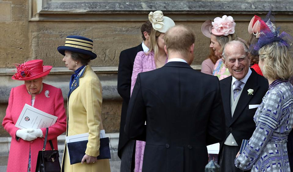 Britain's Queen Elizabeth II (L), Britain's Princess Anne, Princess Royal, (2L) Britain's Prince Harry, Duke of Sussex (C), and Britain's Prince Philip, Duke of Edinburgh (2R) leave St George's Chapel in Windsor Castle, Windsor, west of London, on May 18, 2019, after the wedding of Lady Gabriella Windsor and Thomas Kingston. - Lady Gabriella, is the daughter of Prince and Princess Michael of Kent. Prince Michael, is the Queen Elizabeth II's cousin. (Photo by Steve Parsons / POOL / AFP)        (Photo credit should read STEVE PARSONS/AFP via Getty Images)