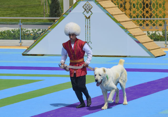 A man dressed in a national costume runs with his border guard shepherd dog Alabay during Dog Day celebration in Ashgabat, Turkmenistan, Sunday, April 25, 2021. The Central Asian nation of Turkmenistan has celebrated its new state holiday honoring the native Alabay dog breed. President Gurbanguly Berdymukhamedov established the holiday to be observed on the same day that Turkmenistan lauds its Akhla-Teke horse, a breed known for its speed and endurance. (AP Photo)