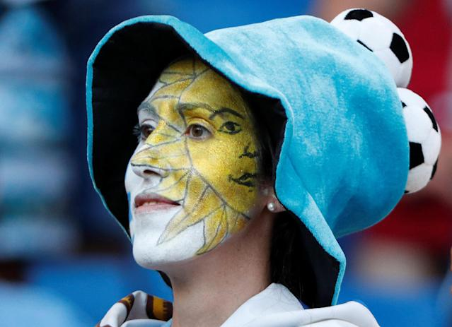 Soccer Football - World Cup - Group A - Uruguay vs Saudi Arabia - Rostov Arena, Rostov-on-Don, Russia - June 20, 2018 Uruguay fan inside the stadium before the match REUTERS/Max Rossi