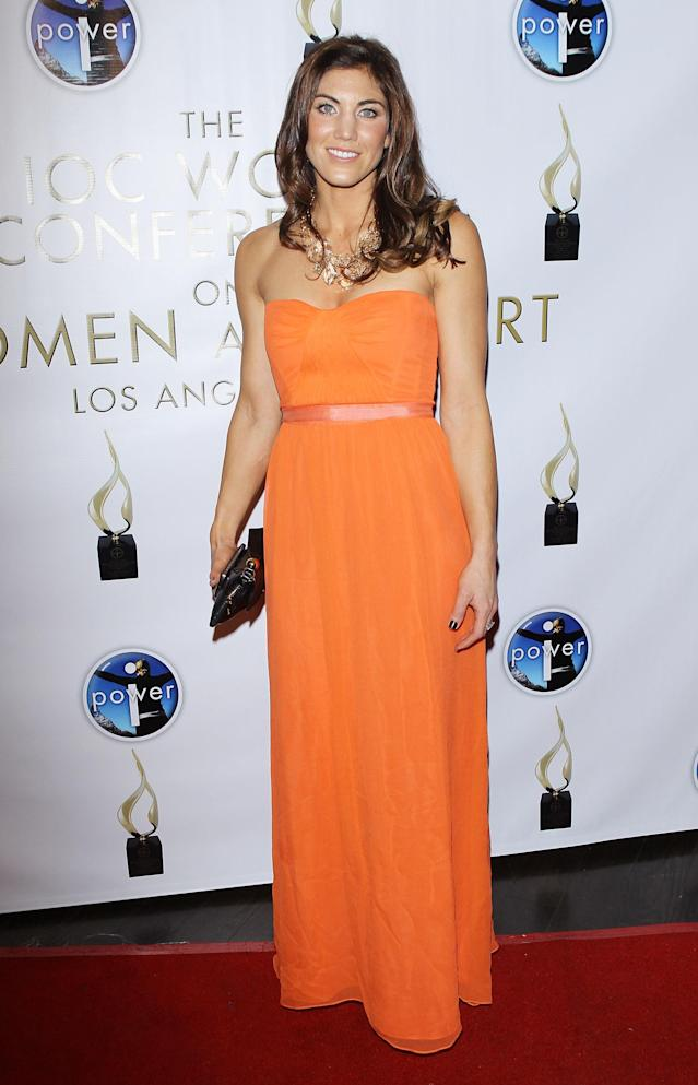 LOS ANGELES, CA - FEBRUARY 17: Hope Solo arrives at the Power Of I: Celebrating Women And Sport gala dinner at The International Olympic Committee - 5th World Conference On Women And Sport held at The Conga Room at L.A. Live on February 17, 2012 in Los Angeles, California. (Photo by Michael Tran/FilmMagic)
