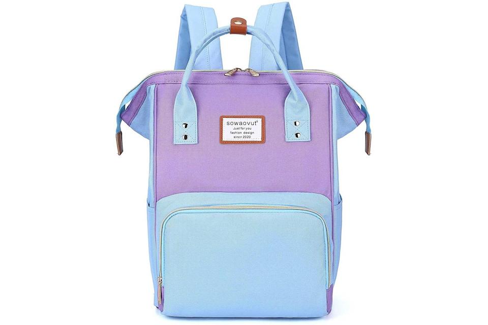 Sowaovut Laptop Backpack in blue and pink