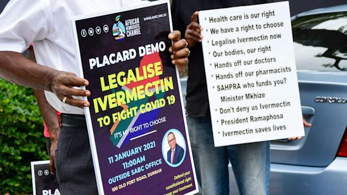 Participants protest during the Legalise Ivermectin to fight COVID-19 demonstration on January 11, 2021