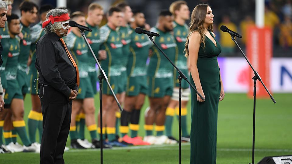 Olivia Fox, pictured here singing Advance Australia Fair before the Wallabies' clash with Argentina.
