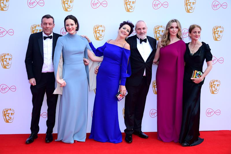 Lee Morris, Phoebe Waller-Bridge, Fiona Shaw, Kim Bodnia, Jodie Comer and Sally Woodward Gentle attending the Virgin Media BAFTA TV awards, held at the Royal Festival Hall in London. (Photo by Ian West/PA Images via Getty Images)