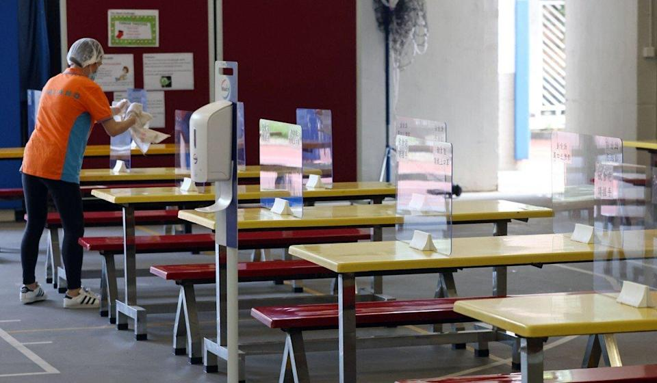 The school's canteen prepares for the return of students on Monday. Photo: K. Y. Cheng