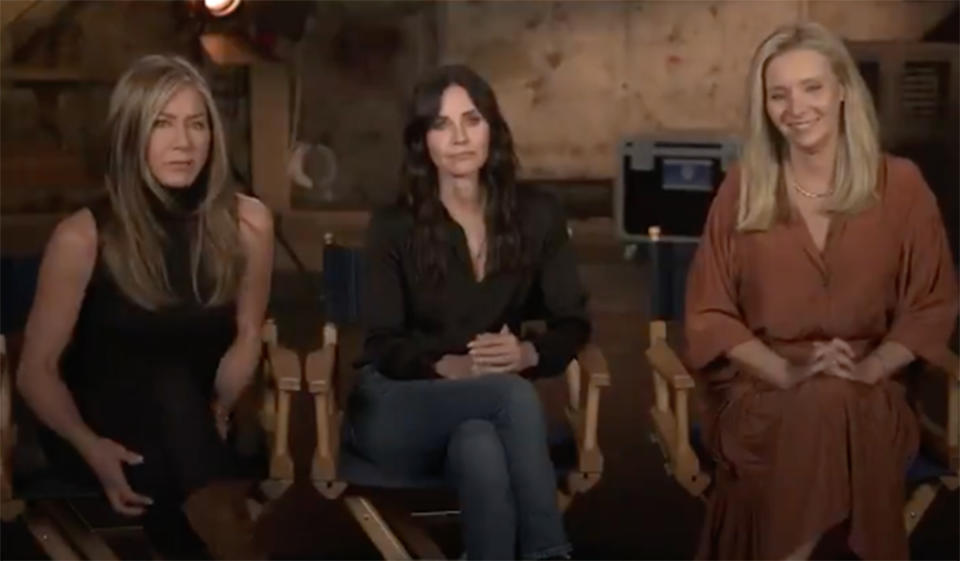 Jennifer Aniston, Courteney Cox and Lisa Kudrow in the trailer for the Friends reunion special