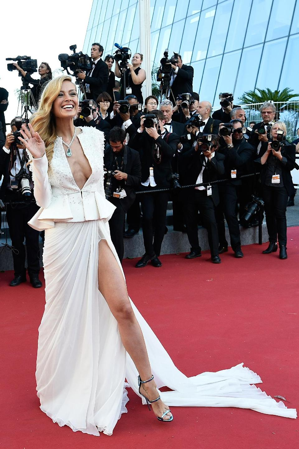 White ensembles with slit skirts, such as this Zuhair Murad Couture gown worn by Petra Nemcova, were a popular choice at Cannes 2015.