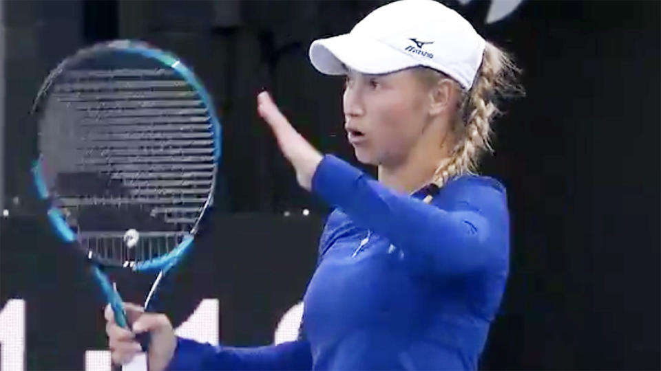 Yulia Putintseva, pictured here in action at the Adelaide International.
