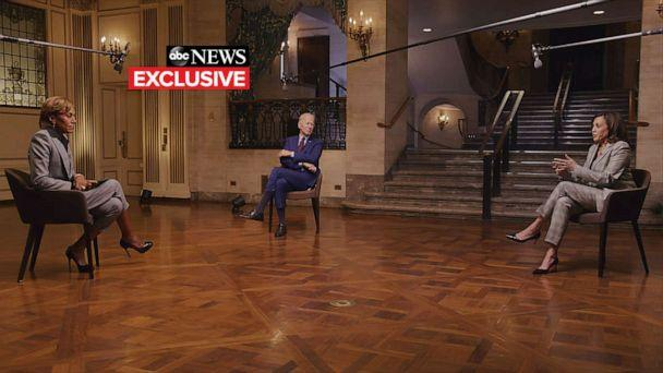 PHOTO: 'Good Morning America' co-anchor Robin Roberts conducts a joint interview with Democratic presidential nominee Joe Biden and his running mate Sen. Kamala Harris, Aug. 21, 2020. (ABC News)