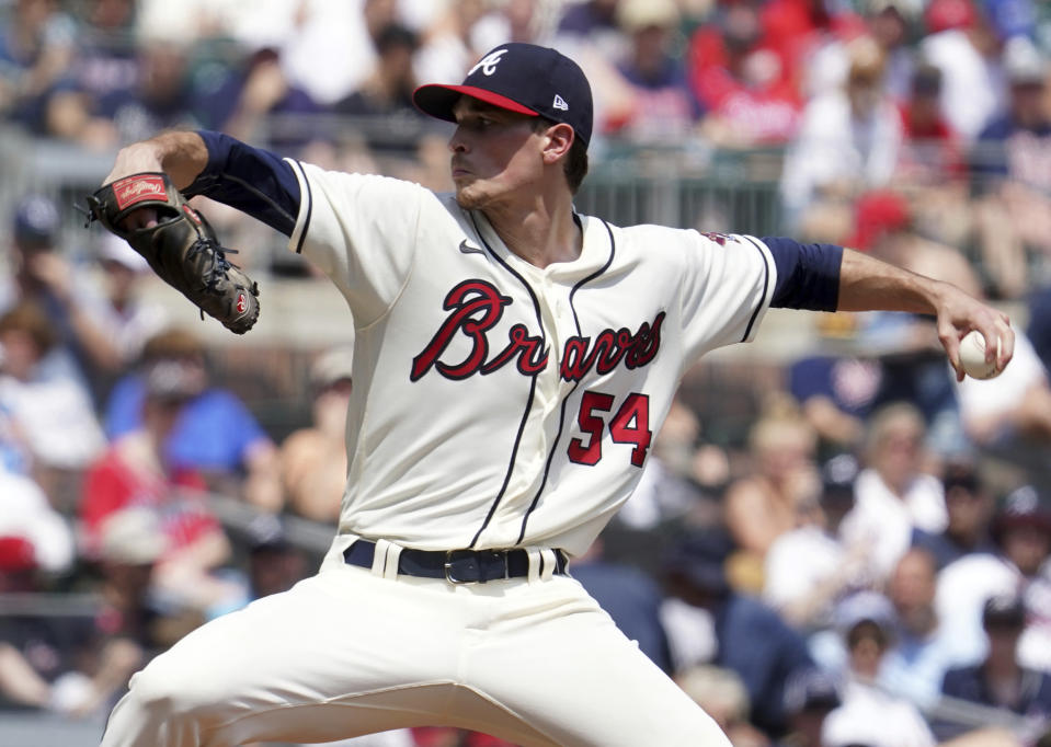 Atlanta Braves starting pitcher Max Fried throws to a Pittsburgh Pirates batter in the fourth inning of a baseball game Sunday, May 23, 2021 in Atlanta. (AP Photo/Tami Chappel)