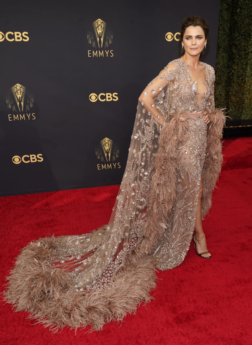 Keri Russell arrives at the 73rd Primetime Emmy Awards on Sunday, Sept. 19, 2021, at L.A. Live in Los Angeles. (AP Photo/Chris Pizzello)