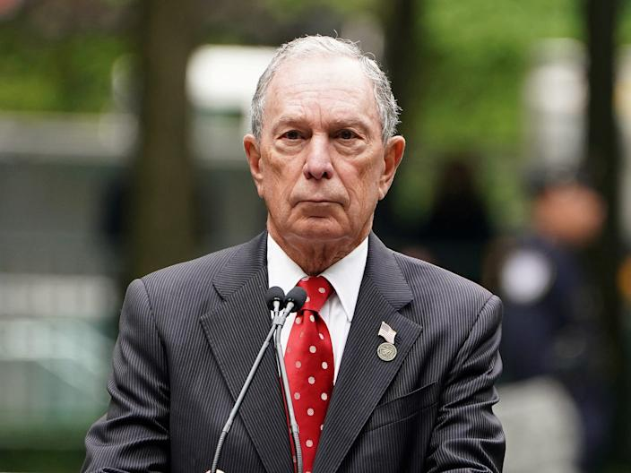 Former Mayor of New York Michael Bloomberg speaks at the dedication ceremony of the Memorial Glade at the 9/11 Memorial site in the Manhattan borough of New York, New York, May 30, 2019.