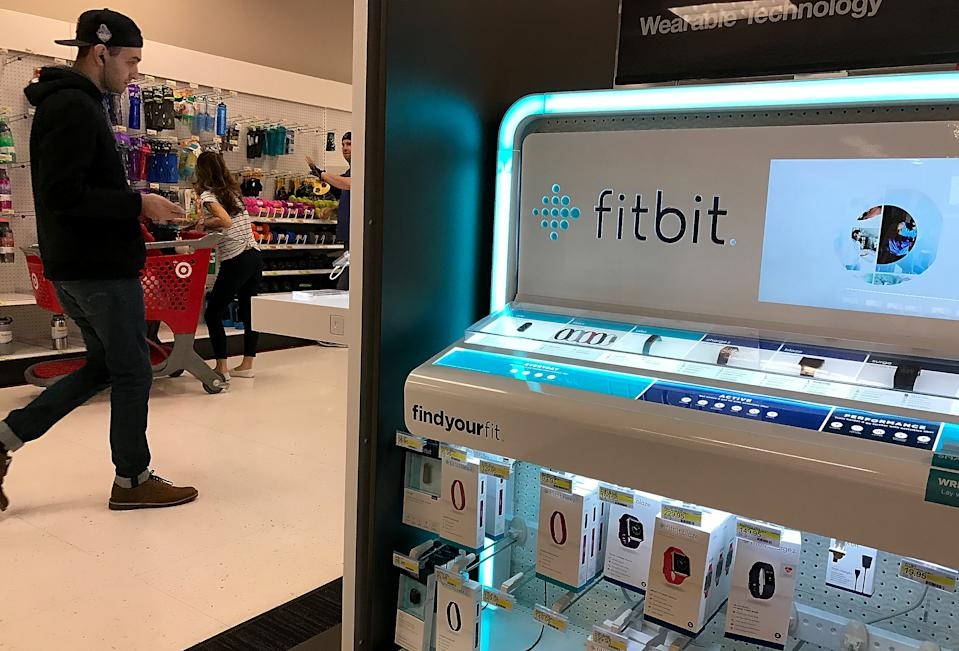 LOS ANGELES, CA - JANUARY 30:  The Fitbit logo is displayed at a Target store on January 30, 2017 in Los Angeles, California. Fitbit announced that it will lay off 110 employees, or 6 percent of its workforce, after anticipating lower-than-expected fourth-quarter earnings.  (Photo by Justin Sullivan/Getty Images)