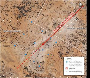 Satellite image with Munro Bore trend and collar location of planned RC drill holes.