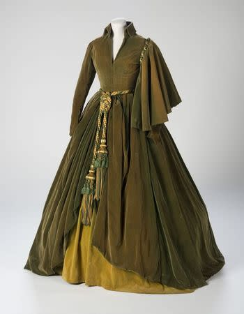 """The conserved green curtain dress worn by Vivien Leigh as Scarlett O'Hara in """"Gone With The Wind"""" is shown in this handout photo courtesy of the Harry Ransom Center provided August 28, 2014. REUTERS/Pete Smith/Harry Ransom Center/Handout via Reuters"""