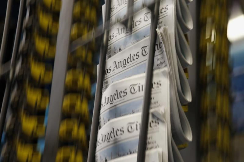 LOS ANGELES, CA-APRIL 10, 2019: The first prints of the new food section comes off the presses at Los Angeles Times printing plant on April 10, 2019, in Los Angeles, California. (Photo By Dania Maxwell / Los Angeles Times)
