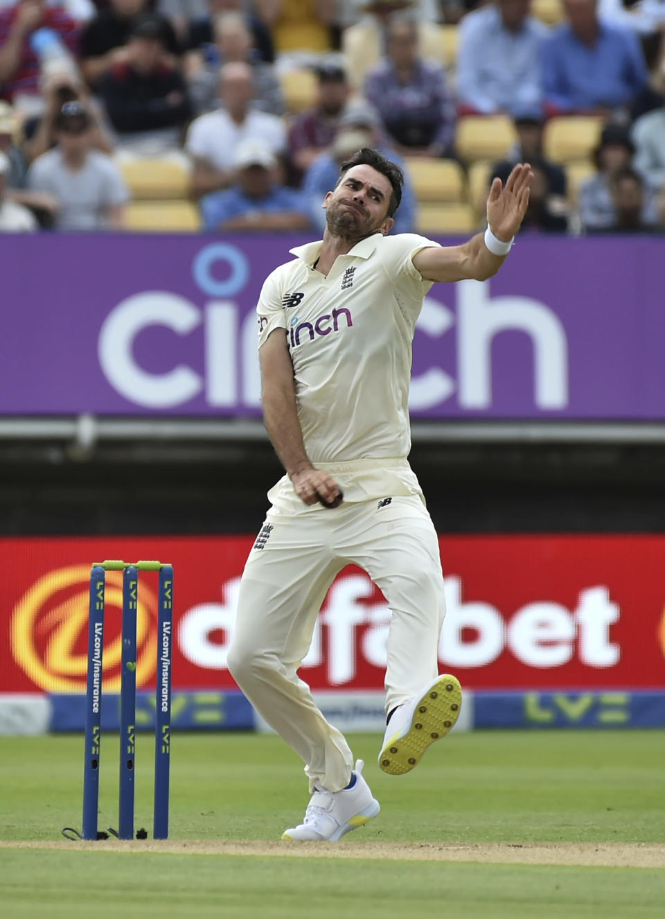 England's James Anderson bowls a delivery during the second day of the second cricket test match between England and New Zealand at Edgbaston in Birmingham, England, Friday, June 11, 2021. (AP Photo/Rui Vieira)
