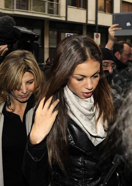 """Karima El-Mahroug -- aka """"Ruby the Heart Stealer"""" -- arrives to testify at a Milan court on January 14, 2013. The verdict in former Italian prime minister Silvio Berlusconi's trial for underage sex will not come before the February general elections, a court has said"""