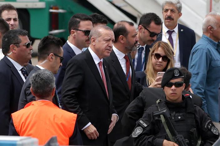 Turkey President Recep Tayyip Erdogan look Buenos Aires for G20 Leaders' Summit 2018 at Ministro Pistarini International Airport on Thursday in Ezeiza, Buenos Aires, Argentina. (Photo: Daniel Jayo/Getty Images)