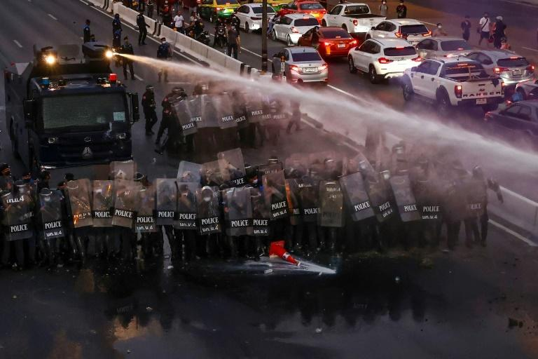 Police used water cannon and tear gas in an attempt to disperse the crowd