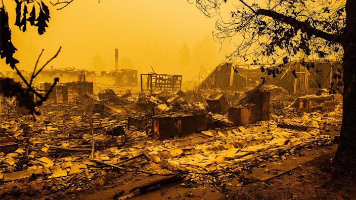 The charred remains of Gates Elementary School after the passage of the Santiam Fire in Gates, Ore., on Sept. 10. (Kathryn Elsesser/AFP via Getty Images)
