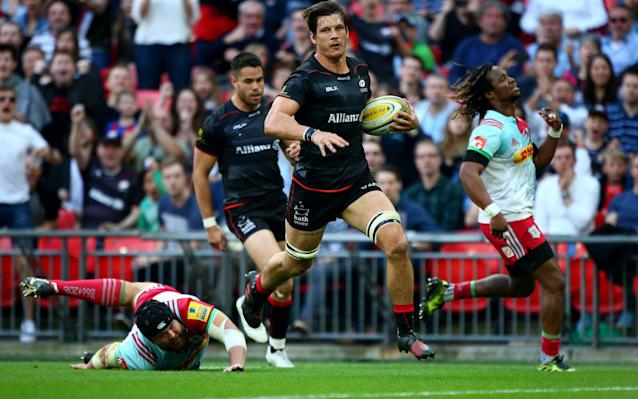 <span>Michael Rhodes scores Saracens third try</span> <span>Credit: Getty Images </span>