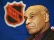 FILE - In this March 25, 2003, file photo, Willie O'Ree, the NHL's first black player and current NHL director of youth development is seen prior to being presented with the 2003 Lester Patrick Award, in Boston. The Boston Bruins say they are retiring the jersey of Willie O'Ree, who broke the NHL's color barrier. O'Ree will have his jersey honored prior to the Bruins' Feb. 18 game against the New Jersey Devils. He became the league's first Black player when he suited up for Boston on Jan. 18, 1958 against the Montreal Canadiens, despite being legally blind in one eye. AP Photo/Patricia McDonnell, File