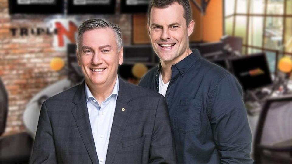 Triple M breakfast co-hosts Eddie McGuire and Luke Darcy are pictured together in this shot.