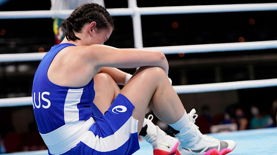 Skye Nicolson was shattered after her Olympic dream was ended in Tokyo on Wednesday. Pic: Getty
