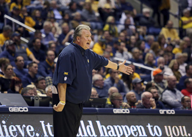 West Virginia coach Bob Huggins reacts to a call during the first half of the team's NCAA college basketball game against Boston University on Friday, Nov. 22, 2019, in Morgantown, W.Va. (AP Photo/Kathleen Batten)