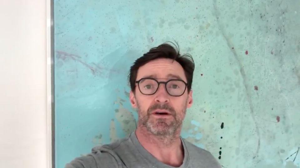 Hugh Jackman on Twitter in a video wearing glasses